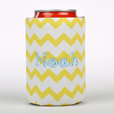Lemon Chevron Embroidery Personalized Can Cooler