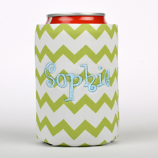 Lime Green Chevron Embroidery Personalized Can Cooler