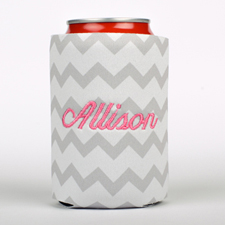 Grey Chevron Embroidery Personalized Can Cooler