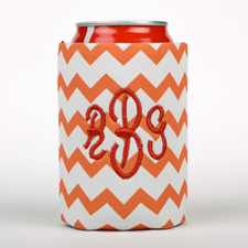 Orange Chevron Embroidery Personalized Can Cooler