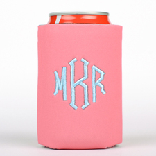 Pink Monogrammed Personalized Embroidered Can Cooler