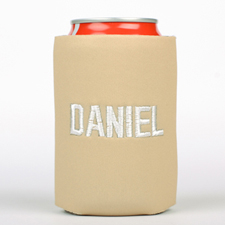Beige Monogrammed Personalized Embroidered Can Cooler