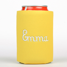 Yellow Monogrammed Personalized Embroidered Can Cooler