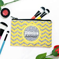 Yellow Glitter Chevron Personalized Cosmetic Bag