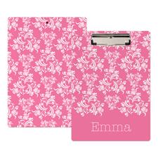 Pink Damask Personalized Clipboard