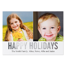 Silver Foil Personalized Two Collage Photo Happy Holidays Flat Card, 5X7