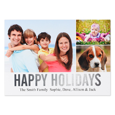 Collage Happy Holidays Silver Foil Personalized Photo Card