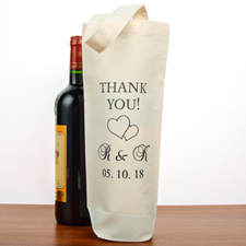 Two Hearts Wedding Thank You Personalized Cotton Wine Tote Bag