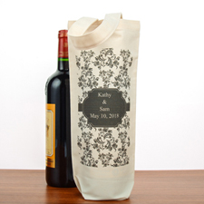 Damask Personalized Cotton Wine Tote Bag