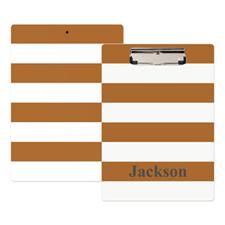Brown White Stripe Personalized Clipboard