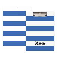 Blue White Stripe Personalized Clipboard