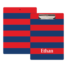 Red Navy Stripe Personalized Clipboard