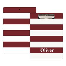 Red White Stripe Personalized Clipboard