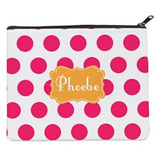 Pink Dot Orange Personalized 8X10 Cosmetic Bag