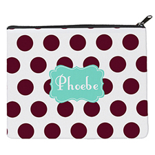 Plum Dot Mint Personalized 8X10 Cosmetic Bag