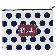 Navy Dot Plum Personalized 8X10 Cosmetic Bag