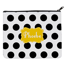 Black Dot Yellow Personalized 8X10 Cosmetic Bag