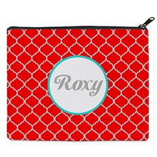 Red Quatrefoil Personalized 8X10 Cosmetic Bag