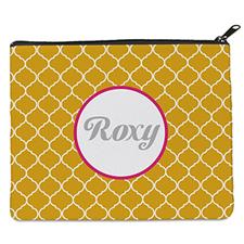Yellow Quatrefoil Personalized 8X10 Cosmetic Bag