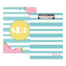 Aqua Striped Rose Personalized Clipboard