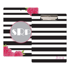 Black Striped Rose Personalized Clipboard