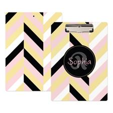 Gold Pink Black Stripe Personalized Clipboard