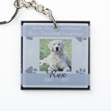 Grey Pet Memorial Personalized Acrylic Square Keychain