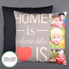 Home Is Love Personalized Photo Large Pillow Cushion Cover 20