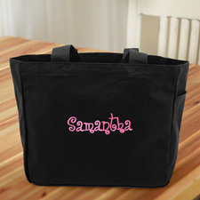 Personalized Embroidered Cotton Tote Bag, Black
