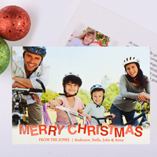 Contemporary Christmas Personalized Photo Card