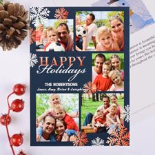 Snowflake Frenzy Personalized Christmas Photo Card