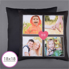 Four Collage And Heart Personalized Photo Pillow 18X18  Cushion (No Insert)