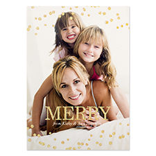 Gold Glitter Snowing Personalized Photo Christmas Card 5X7