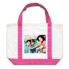 Personalized Landscape Photo Hot Pink Canvas Tote Bag