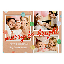 Glitter Dots Personalized Photo Red Merry & Bright Card 5X7