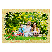 Rejoice Gold Glitter Personalized Photo Christmas Card 5X7