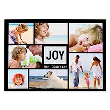Joy Silver Glitter Personalized Photo Christmas Card 5X7