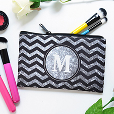 Silver Glitter And Black Chevron Personalized Cosmetic Bag, Medium