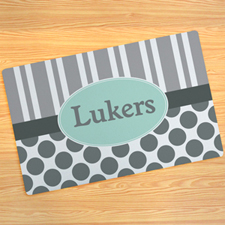 Grey Stripe And Polka Dot Personalized Doormat 17X27