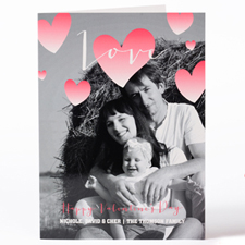 Watercolor Heart Personalized Photo Valentine's Card, 5X7 Folded