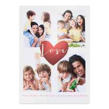 Red Foil Heart Personalized Photo Valentine's Card, 5X7