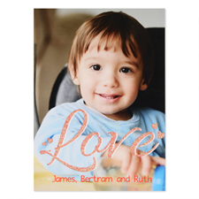 Red Glitter Personalized Photo Valentine's Card