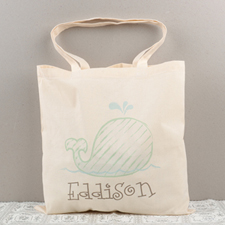 Whale Personalized Cotton Tote Bag