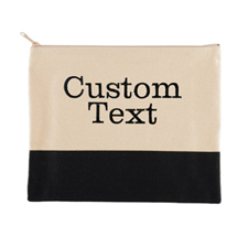 Custom Embroidered Two Text Line Black Natural Canvas Cosmetic Bag
