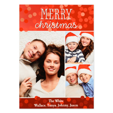 Merry Christmas Three Collage Personalized Photo Card