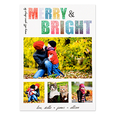 Glitter Merry and Bright Personalized Photo Christmas Card