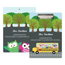Cute Owl School Bus Personalized Clipboard