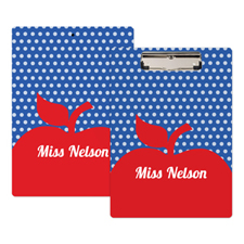 Polka Dot Red Apple Personalized Clipboard