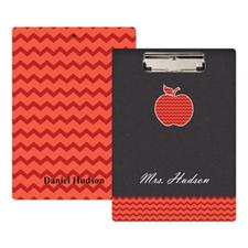 Chalkboard Red Chevron Apple Personalized Clipboard For Teacher