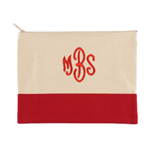 Embroidered Cosmetic Bag in Red Trim, Large